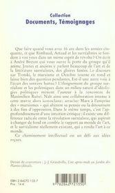 Surrealisme De Jadis A Naguere - 4ème de couverture - Format classique