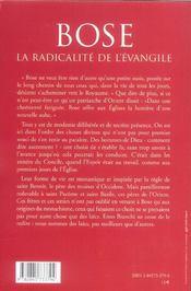 Bose la radicalite de l'evangile - 4ème de couverture - Format classique