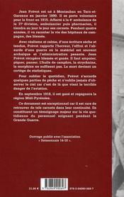 Carnets d'un ambulancier et pharmacien 1915-1918 - 4ème de couverture - Format classique