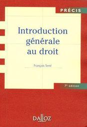 Introduction générale au droit (7e édition) - Intérieur - Format classique