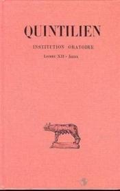 Institution oratoire t.7 ; livre XII, index - Couverture - Format classique