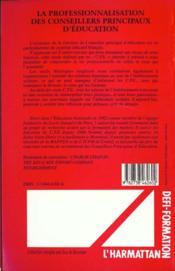 La Professionnalisation Des Conseillers Principaux D'Education - 4ème de couverture - Format classique