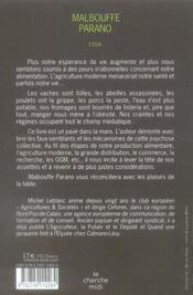 Malbouffe parano - 4ème de couverture - Format classique