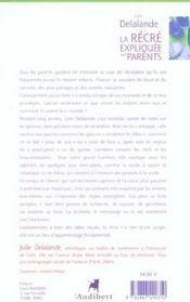 Recre Expliquee Aux Parents (La) - 4ème de couverture - Format classique
