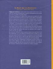 Histoire de l'architecture française t.1 ; du Moyen Age à la Renaissance - 4ème de couverture - Format classique