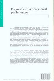 Diagnostic environnemental par les usages - 4ème de couverture - Format classique