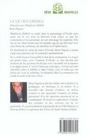 La vie fraternelle ; itinéraire avec Madeleine Delbrêl - 4ème de couverture - Format classique