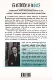Institutions De La Paix ? (Les) Integration Europeenn - 4ème de couverture - Format classique