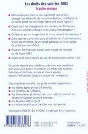 Les droits des salaries ; edition 2003 - 4ème de couverture - Format classique