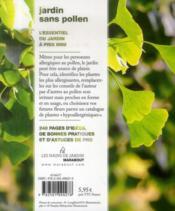 Un jardin presque sans pollen pour réduire les allergies - 4ème de couverture - Format classique