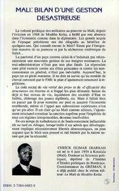 Mali Bilan D'Une Gestion Desastreuse - 4ème de couverture - Format classique