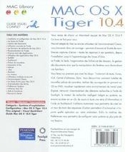 Mac os x tiger version 10.4 - 4ème de couverture - Format classique