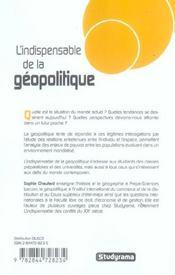 L'Indispensable De La Geopolitique (Reedition) - 4ème de couverture - Format classique