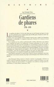 Gardiens de phares 1798-1939 - 4ème de couverture - Format classique