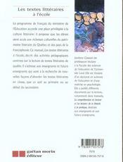 Les textes litteraires a l'ecole - 4ème de couverture - Format classique