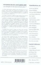 Psychanalyse de l'antilibéralisme - 4ème de couverture - Format classique
