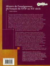 Histoire de l'enseignement du français du XVII au XX siècle - 4ème de couverture - Format classique