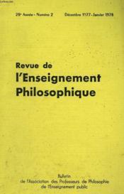 REVUE DE L'ENSEIGNEMENT PHILOSOPHIQUE, 28e ANNEE, N° 2, DEC.-JAN. 1977-78 - Couverture - Format classique