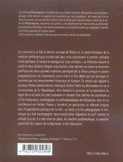 Les Lois Platon - 4ème de couverture - Format classique