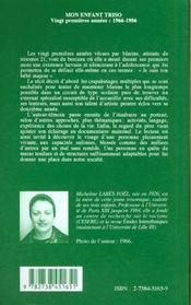 Mon Enfant Triso : Vingt Premieres Annees 1966-1986 - 4ème de couverture - Format classique