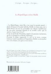 La Republique Selon Malik - 4ème de couverture - Format classique