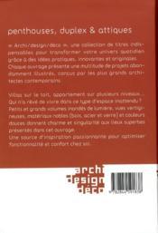 Penthouses, dupplex et attiques - 4ème de couverture - Format classique