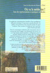 Ou Va La Medecine ?. Sens Des Representations Et Pratiques Medicales - 4ème de couverture - Format classique