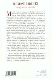 Raymond radiguet ; la jeunesse contredite - 4ème de couverture - Format classique