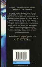 Nouveaux contes des vampires t.1 ; Pandora - 4ème de couverture - Format classique