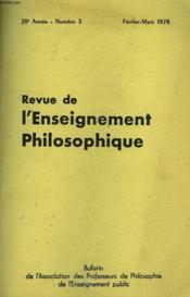 REVUE DE L'ENSEIGNEMENT PHILOSOPHIQUE, 28e ANNEE, N° 3, FEV.-MARS 1978 - Couverture - Format classique