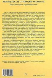 Regards sur les littératures coloniales t.2 ; Afrique francophone : approfondissements - 4ème de couverture - Format classique