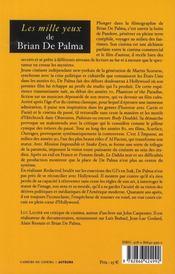 Le mille yeux de Brian de Palma - 4ème de couverture - Format classique