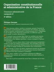 Organisation Constitutionnelle Et Administa - 4ème de couverture - Format classique
