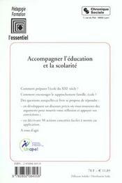 Accompagner l'education et la scolarite 50 fiches-action + 1 pour agir - 4ème de couverture - Format classique