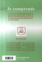 Je Comprends Les Opérations ; Cahier N.1 ; Ce1 - 4ème de couverture - Format classique