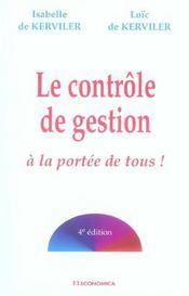 Le Controle De Gestion A La Portee De Tous ! (4e Edition) - Intérieur - Format classique