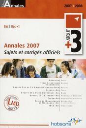 Atout +3 ; annales 2007 ; sujets et corrigés officiels - Intérieur - Format classique