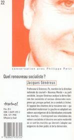 Quel renouveau socialiste ? - 4ème de couverture - Format classique