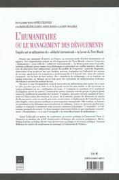 L'humanitaire ou le management des devouements enquete sur un militantisme de solidarite internation - 4ème de couverture - Format classique