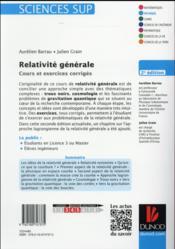 Relativité générale ; cours et exercices corrigés (2e édition) - 4ème de couverture - Format classique