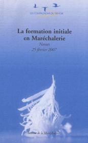 La formation initiale en maréchalerie - Couverture - Format classique
