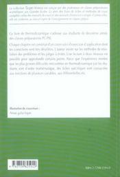 Thermodynamique Fiches Methodes Et Exercices Corriges 2e Annee Pc-Psi - 4ème de couverture - Format classique
