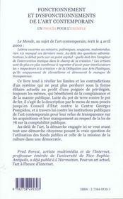 Fonctionnement Et Dysfonctionnement De L'Art Contemporain ; Un Proces Pour L'Exemple - 4ème de couverture - Format classique