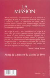 Mission (La) - Conf De Careme Lyon 2006 - 4ème de couverture - Format classique
