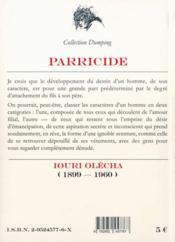 Parricide - 4ème de couverture - Format classique