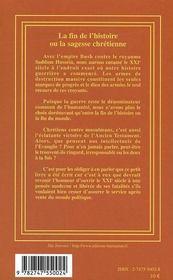 La Fin De L'Histoire Ou La Sagesse Chretienne - 4ème de couverture - Format classique