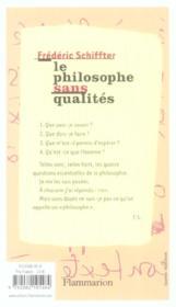 Le philosophe sans qualites - 4ème de couverture - Format classique