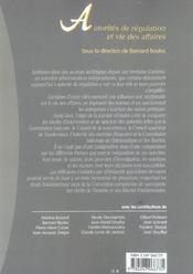 Autorites de regulation et vie des affaires - 1ere edition - 4ème de couverture - Format classique