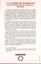 La guerre des partisans dans du sud-ouest de la France 1942-1944 ; la 35° brigade FTP-MOI - 4ème de couverture - Format classique