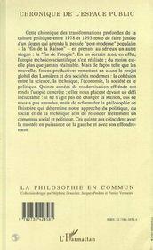 Chronique De L'Espace Public ; Utopie Et Culture Politique, 1978-1993 - 4ème de couverture - Format classique